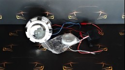 Projector lens with bi-xenon and angel eye function for halogen bulb H1